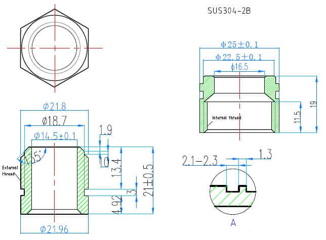 drawing of two-touch fitting for solar water heater parts 2