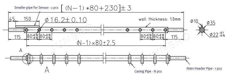 header pipe of solar collector manifold drawing