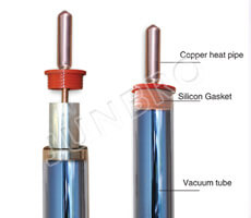solar evacuated tube with heat pipe