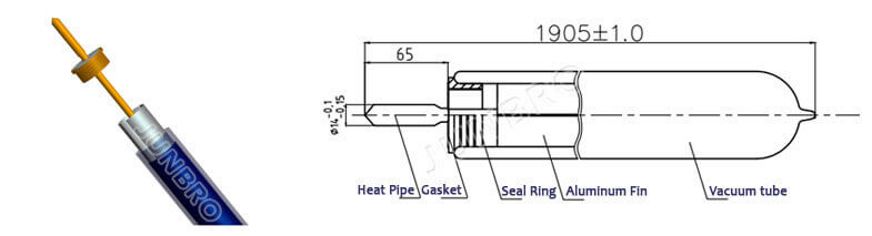 vacuum tube with heat pipe drawing